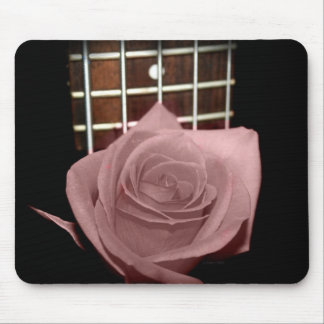 Muted dark pink rose with five string bass fboard mousepads