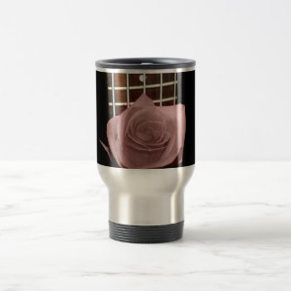 Muted dark pink rose with five string bass fboard mugs