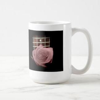 Muted dark pink rose with five string bass fboard coffee mug
