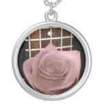 Muted dark pink rose with five string bass fboard jewelry