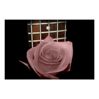 Muted dark pink rose with five string bass fboard print