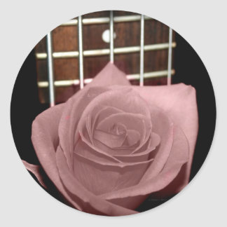 Muted dark pink rose with five string bass fboard sticker