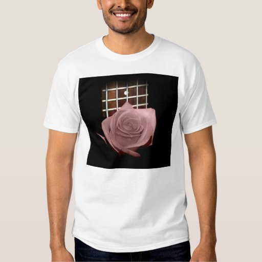 Muted dark pink rose with five string bass fboard t-shirts