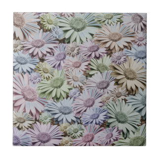 Muted Gerbera Daisy Chintz Small Square Tile