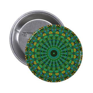 Muted Green Spiral Kaleidoscope Buttons