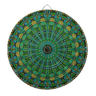 Muted Green Spiral Kaleidoscope Dartboard