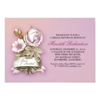 muted lavender color elegant bridal shower invite
