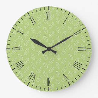 Muted Leaves Pattern Large Clock