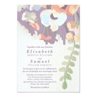 Muted Pastels Floral Art Wedding Invitation