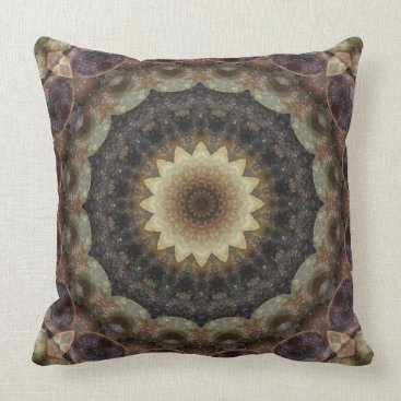 Beach Themed Muted Pastels Seashells Mandala Throw Pillow