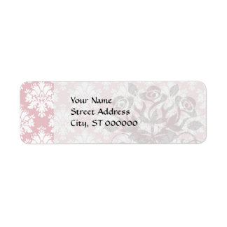 muted pink and white cream damask pattern label