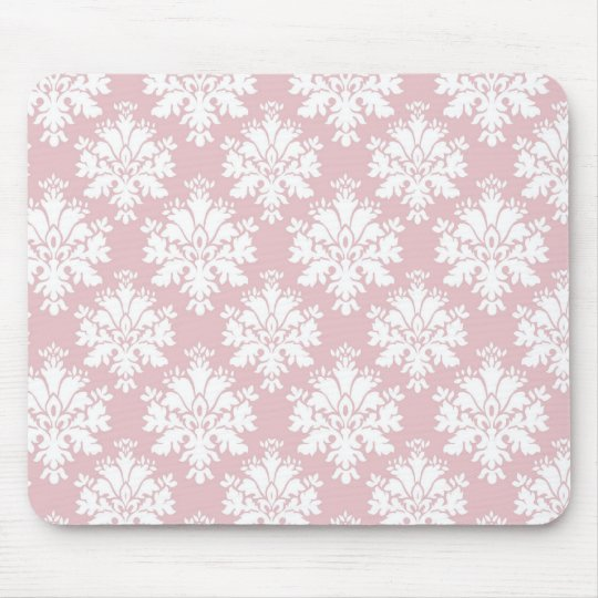 muted pink and white cream damask pattern mouse pad