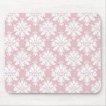 muted pink and white cream damask pattern mousepads