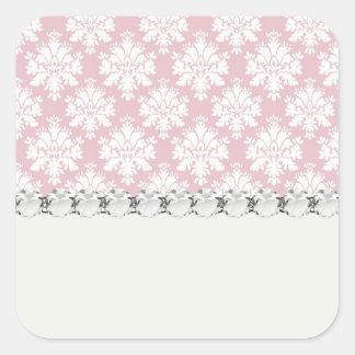 muted pink and white cream damask pattern square sticker