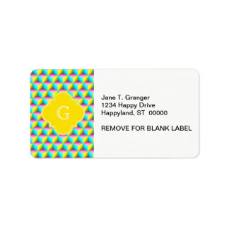 Muted Pink Aqua Yellow 3D Look Cubes Label