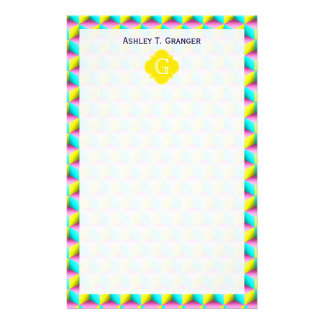 Muted Pink Aqua Yellow 3D Look Cubes Stationery