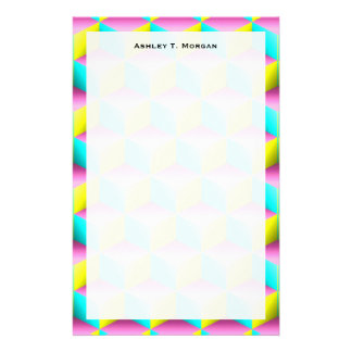 Muted Pink Aqua Yellow Shaded 3D Look Cubes Stationery
