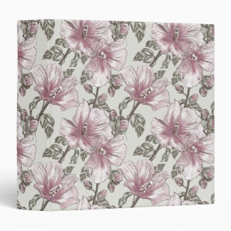 Muted Pink Hibiscus Flowers Pattern 3 Ring Binder