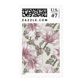Muted Pink Hibiscus Flowers Pattern Postage