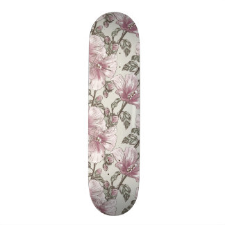 Muted Pink Hibiscus Flowers Pattern Skateboard