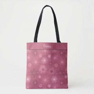 Muted pink toned floral monogram tote bag