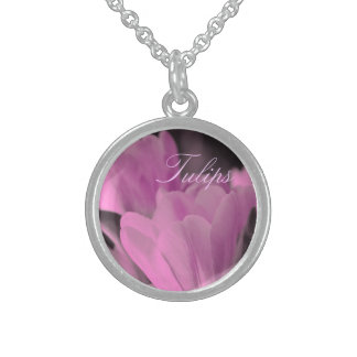 Muted Pink Tulips Sterling Silver Necklace