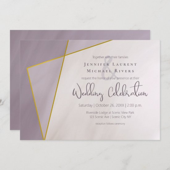 muted plum gold frame modern wedding invitation