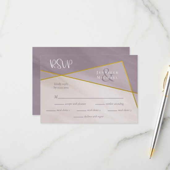 muted plum gold frame wedding rsvp