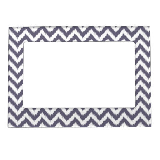 Muted Purple and White Chevron Ikat Pattern Magnetic Photo Frame