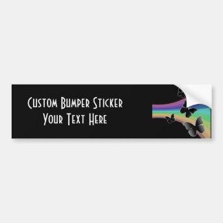 Muted Rainbow Butterflies on Black Bumper Sticker