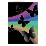 Muted Rainbow Butterflies on Black Greeting Cards
