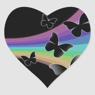 Muted Rainbow Butterflies on Black Heart Sticker