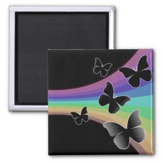 Muted Rainbow Butterflies on Black Magnet