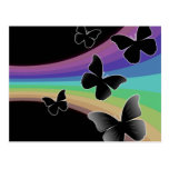 Muted Rainbow Butterflies on Black Post Cards