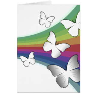 Muted Rainbow On White - Butterflies Card
