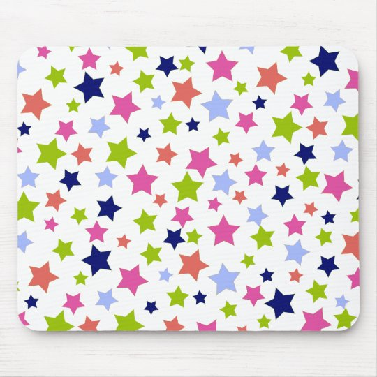 Muted Rainbow Stars on White Mouse Pad