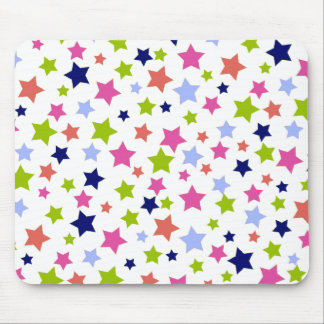 Muted Rainbow Stars on White Mouse Pads