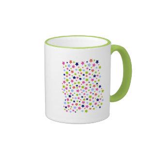 Muted Rainbow Stars on White Coffee Mug