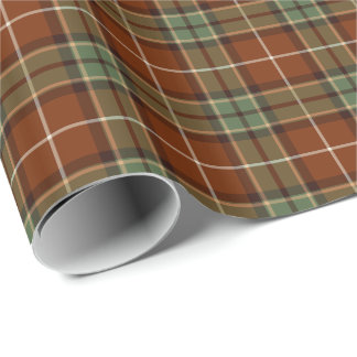 Muted Red and Green Rustic Plaid Pattern Wrapping Paper