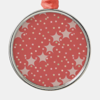 Muted Red Star Pattern Metal Ornament