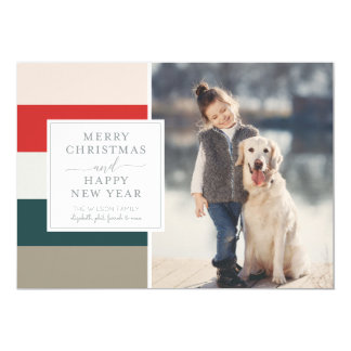 Muted Stripes Merry Christmas Photo Card