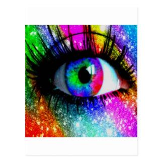 Muti coloured eye post cards