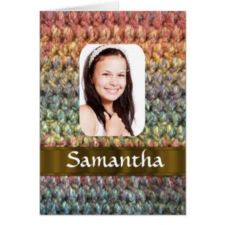 Muticolored wool photo template greeting card