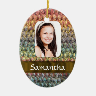 Muticolored wool photo template ceramic ornament