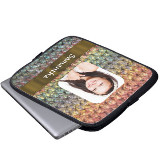 Muticolored wool photo template laptop sleeve
