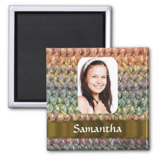 Muticolored wool photo template magnet