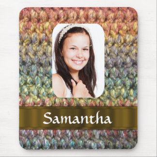 Muticolored wool photo template mouse pad