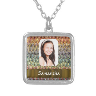 Muticolored wool photo template silver plated necklace