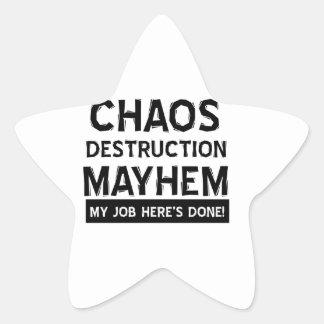 Mutilación de la destrucción del caos pegatina en forma de estrella