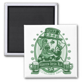 Mutt-Faced Green Irish Ale Beer Logo Gifts 2 Inch Square Magnet